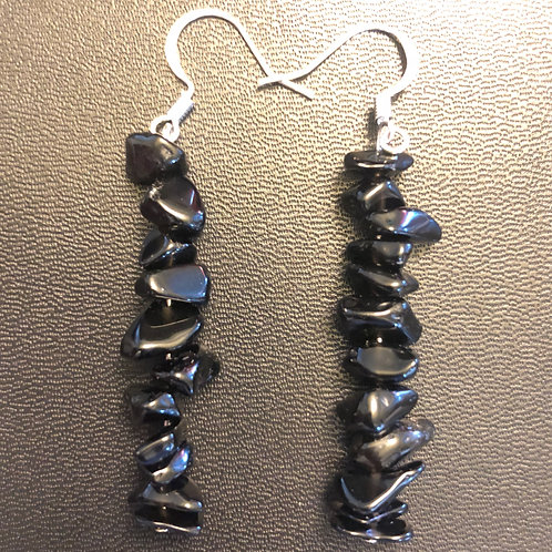 Black Obsidian Chip Earrings