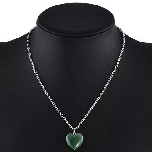 Aventurine Heart Charm Necklace
