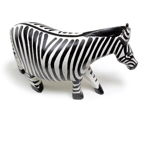"Wooden Zebra Statue 5"" Long"