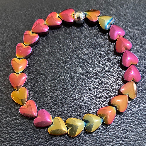 Multi-Pink Hematite Hearts Healing Bracelet