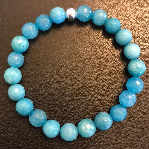 Faceted Blue Agate Healing Bracelet