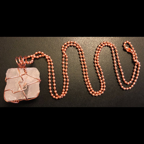 Pink Himalayan Rock and Copper Necklace