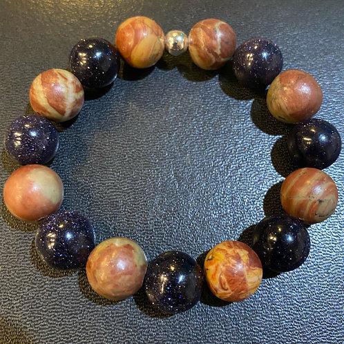 12mm Jasper & Blue Sandstone Healing Bracelet