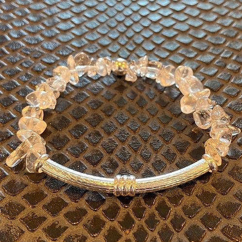 Clear Quartz Chip Bar Healing Bracelet