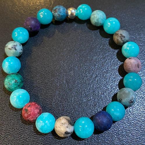 Turquoise Agate & Matte Jasper Healing Bracelet