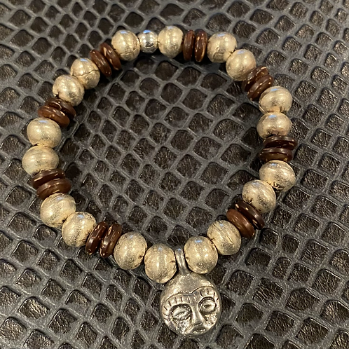 Ethiopian Silver Metal & Coconut Shell Bracelet