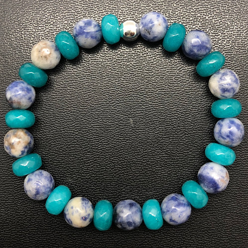 Faceted Sodalite and Opal Healing Bracelet