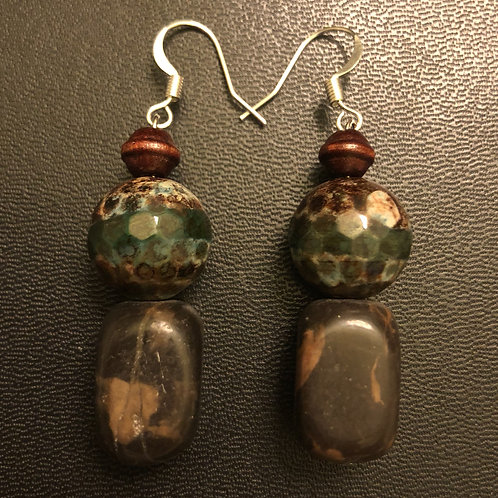 Brown Jasper and Agate Earrings