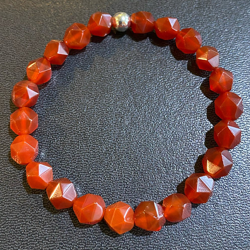 Diamond Cut Red Carnelian Healing Bracelet