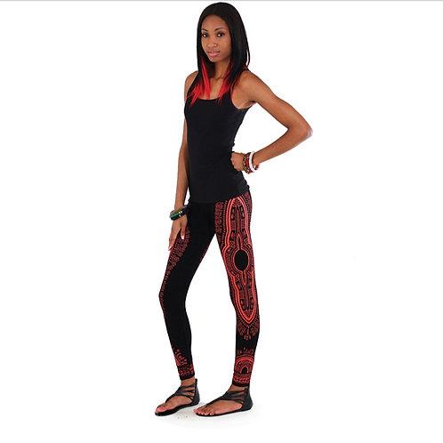 Black/Red Dashiki Leggings