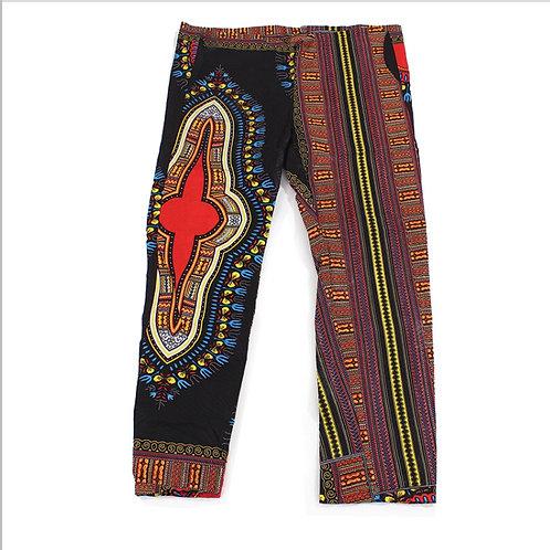 Black Drawstring Dashiki Pants