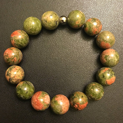 12mm Unakite Healing Bracelet
