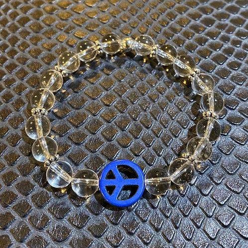 Clear Quartz and Blue Turquoise Peace Symbol Healing Bracelet