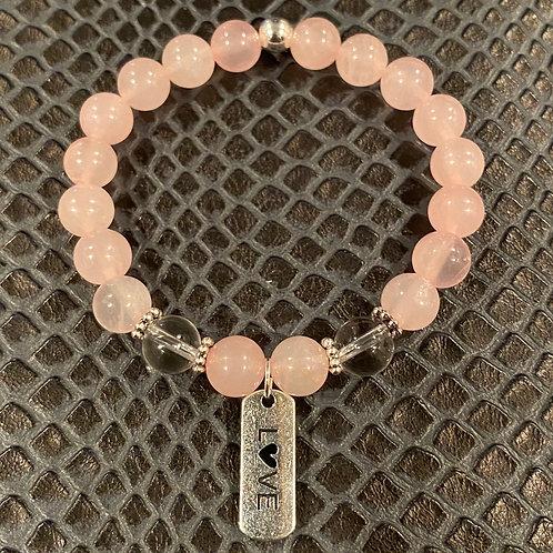 Love Clear & Rose Quartz Healing Bracelet