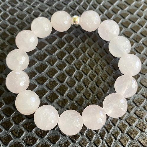 12mm Faceted Rose Quartz Healing Bracelet