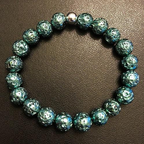 Metallic Blue Lava Stone Healing Bracelet