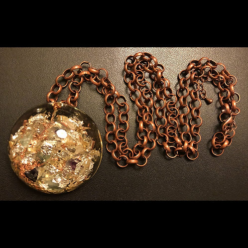 Fluorite and Citrine Orgonite Necklace