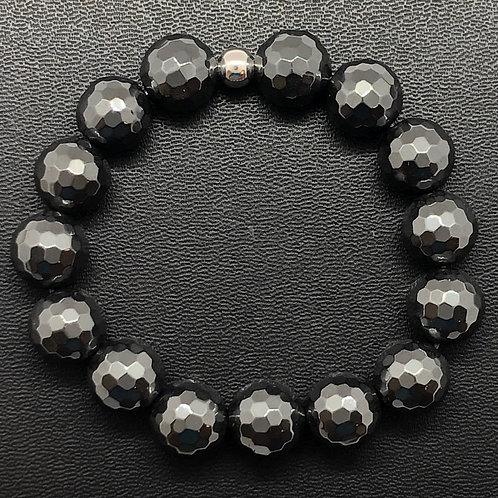 12mm Faceted Hematite Healing Bracelet