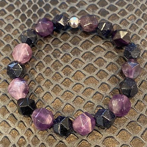Diamond Cut Amethyst & Blue Sandstone Healing Bracelet