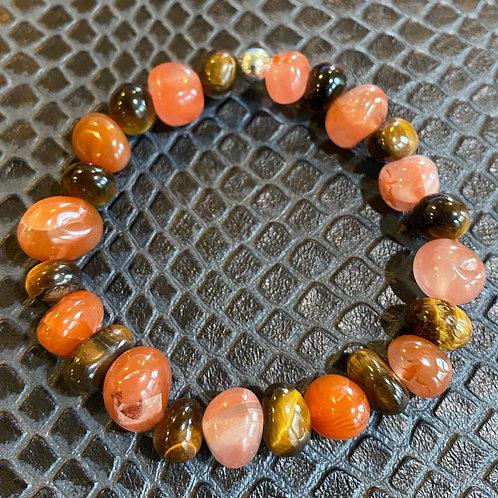 Tiger Eye & Carnelian Nugget Healing Bracelet