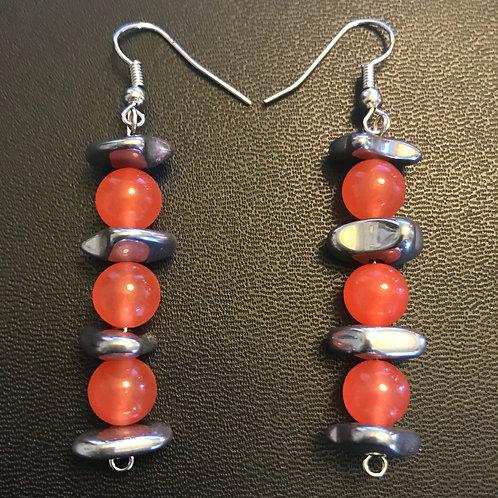 Salmon Jade & Hematite Drop Earrings