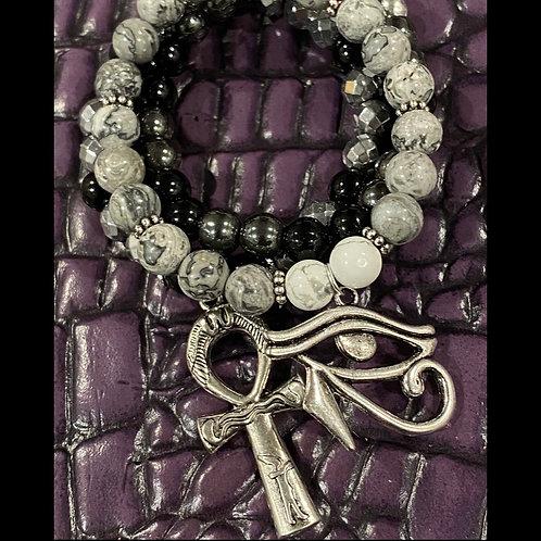 Ankh & Eye of Horus Healing Bracelet Set