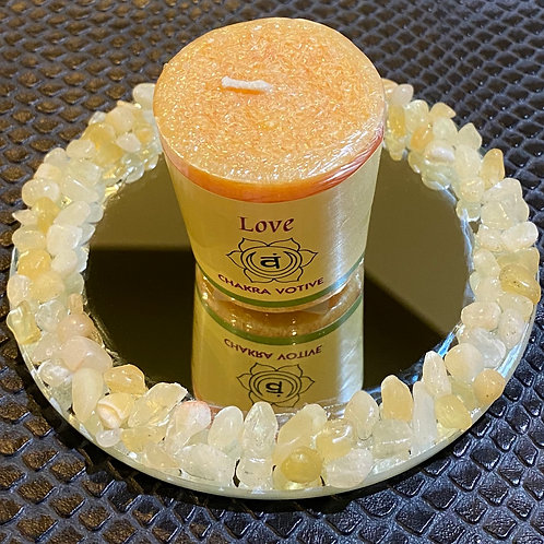 Yellow Calcite Mirrored Candle Holder