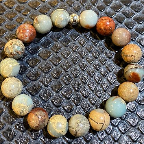 Brown Blue Sea Sediment Jasper Healing Bracelet