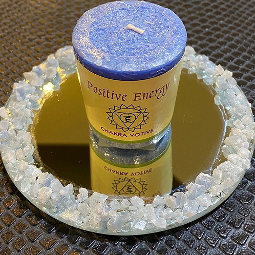Raw Blue Calcite Mirrored Candle Holder