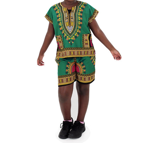 Green Child Dashiki and Shorts Set