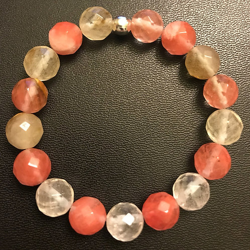 12mm Faceted Watermelon Crystal Healing Bracelet
