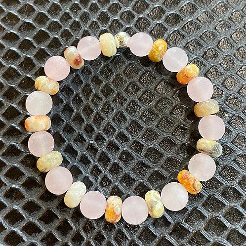 Matte Rose Quartz & Agate Healing Bracelet