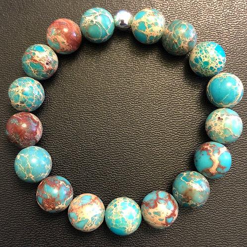 10mm Turquoise Blue Sea Sediment Jasper Healing Bracelet