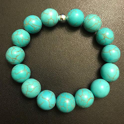 12mm Turquoise Howlite Healing Bracelet