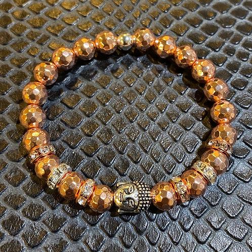 Faceted Rose Gold Hematite Buddha Healing Bracelet
