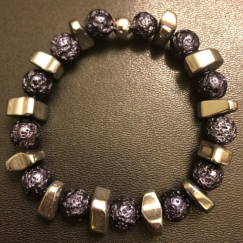 Silver Hematite and Metallic Purple Lava Stone Healing Bracelet