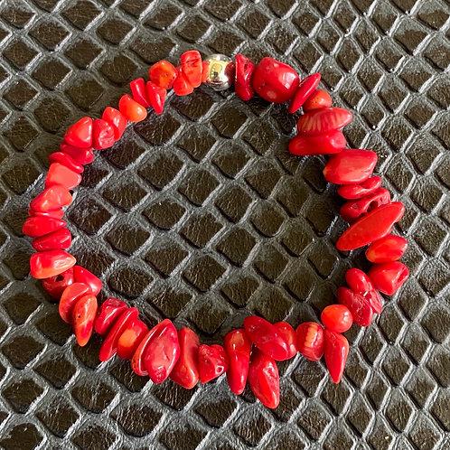 Red Coral Chip Healing Bracelet