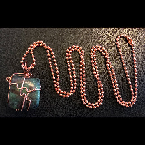 Ruby Zoisite and Copper Necklace