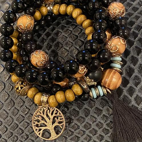Obsidian Bohemian Bracelet Set