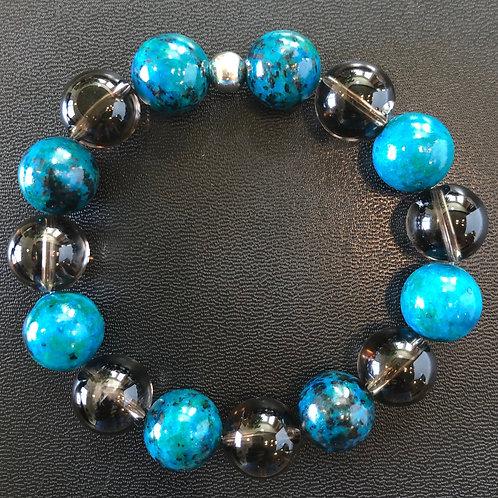12mm Azurite and Smoky Quartz Healing Bracelet