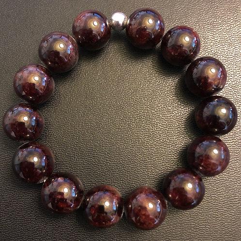 12mm Red Garnet Healing Bracelet