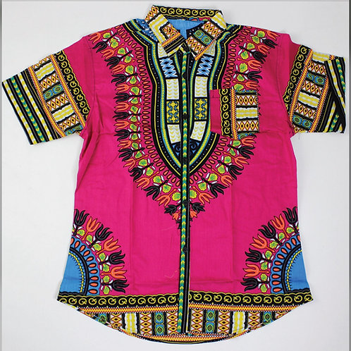 Fuchsia Dashiki Button Up