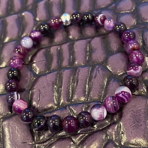 6mm Purple Striped Agate Healing Bracelet