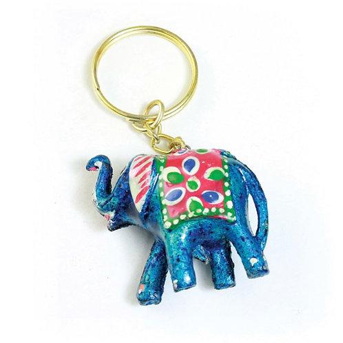 Painted Elephant Keychain