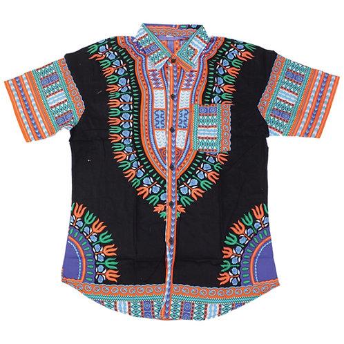 Black/Orange Dashiki Button Up