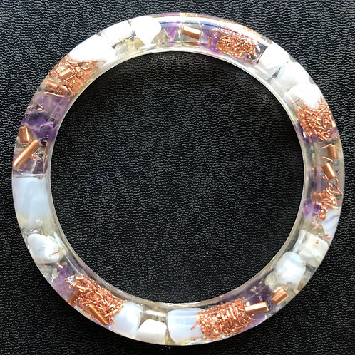 Striped Blue Agate, Amethyst and Citrine Orgonite Bangle