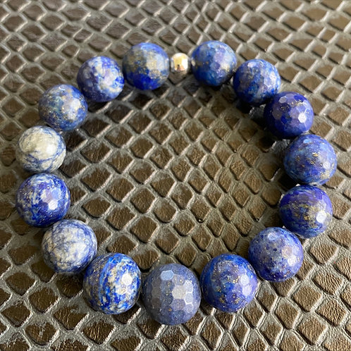 12mm Faceted Lapis Healing Bracelet
