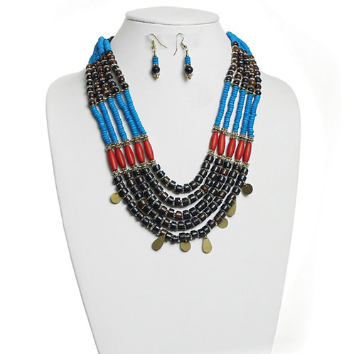 Multi-Colored Beaded Tribal Necklace & Earrings Set