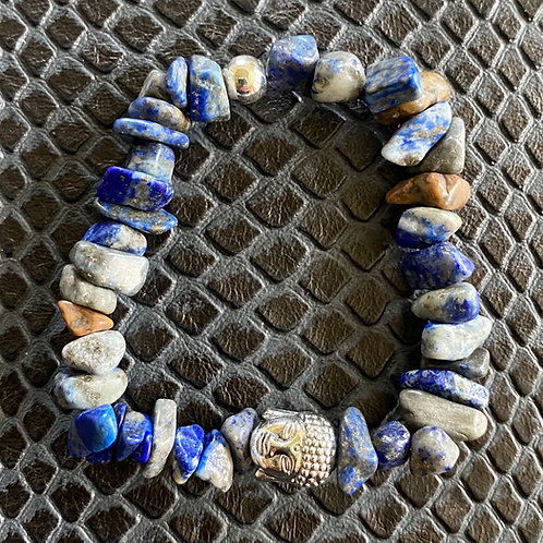 Lapis Lazuli Chip Buddha Healing Bracelet