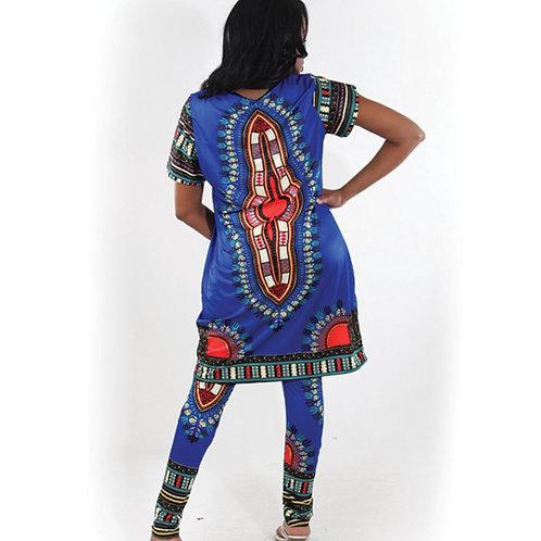 Blue Long Dashiki Shirt and Pants Set